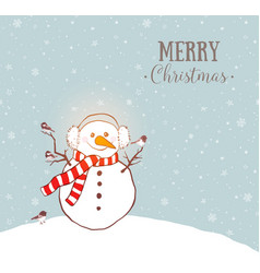 greeting christmas card with snowman in earmuffs vector image