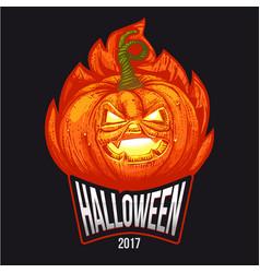halloween logo in flames vector image