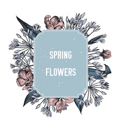 hand drawn design with spring flowers highly vector image