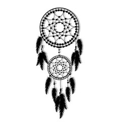 hand-drawn dream catcher with feathers vector image