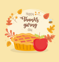 happy thanksgiving day pumpkin cake and apple fall vector image