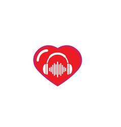 Headphones with music beats headset logo design vector