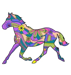 Horse runs trot vector
