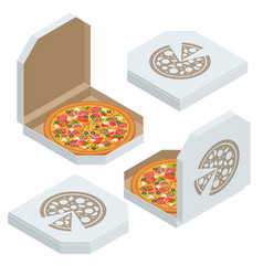 isometric set white pizza box template isolated vector image