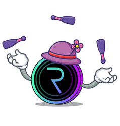 Juggling request network coin mascot cartoon vector