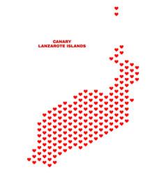 lanzarote islands map - mosaic of valentine hearts vector image