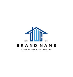 Letter dwc home roof logo design and business card vector