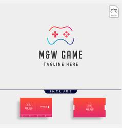 Letter mw game logo design template concept vector