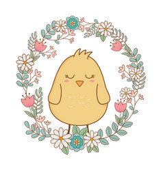 Little chick with floral crown easter character vector