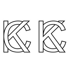 logo sign kc and ck icon sign two interlaced vector image