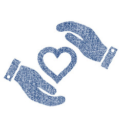 Love heart care hands fabric textured icon vector