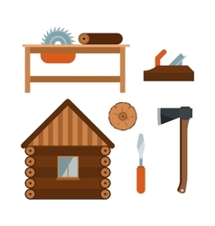 Lumberjack cartoon tools icons vector