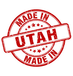 Made in utah red grunge round stamp vector