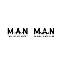 Man word with mustache for logo design vector