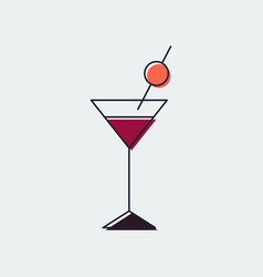 martini glass line flat icongraphic design vector image