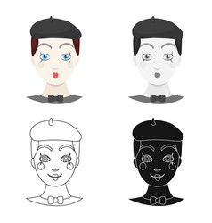 mime artist icon in cartoon style isolated on vector image