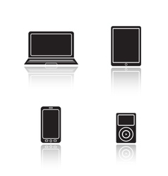 Modern gadgets drop shadow icons set vector image