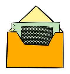 Money in envelope icon cartoon vector