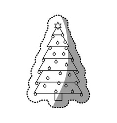 Monochrome silhouette sticker of christmas tree vector