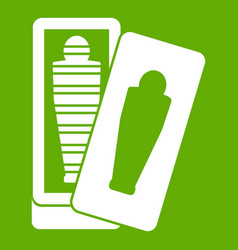 Mummy in sarcophagus icon green vector