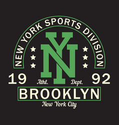 new york brooklyn - graphic design for t-shirt vector image