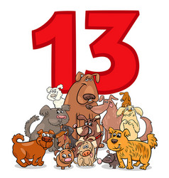 Number thirteen and cartoon dogs group vector