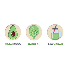 paper cut out logo set with eco green food vector image