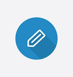 pencil Flat Blue Simple Icon with long shadow vector image