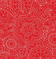 red floral flower pattern doodle vector image