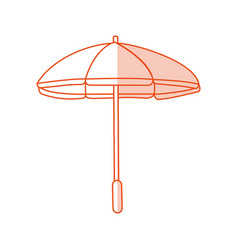 Red silhouette shading image beach umbrella vector