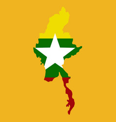 Republic union myanmar flag and map vector