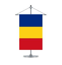 Romanian flag on the metallic cross pole vector