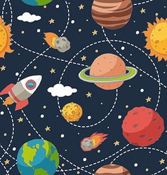 Seamless pattern with planets and sun vector