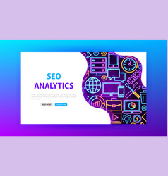 seo analytics neon landing page vector image