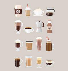 set different coffee drinks vector image