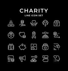 Set line icons of charity vector