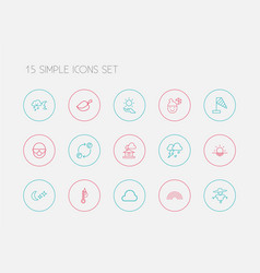 set of 15 editable weather icons line style vector image