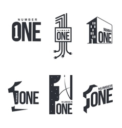 Set of black and white number one logo templates vector image