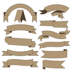 set of cardboard ribbons vector image