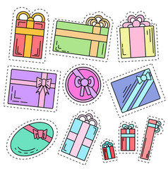 set of color linear stickers of festive gifts of vector image