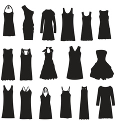 Set of dresses isolated on white background vector image