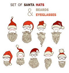 Set of santa hats moustache beards and eyeglasses vector
