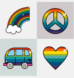 set symbols to representative the hippies vector image