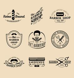 set vintage hipster barbershop logos vector image