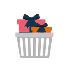 Shopping basket commerce consumerism icon vector