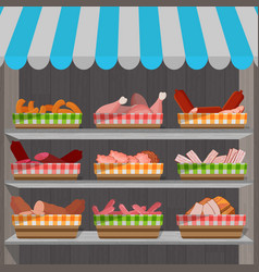 shopping stands with meat products in baskets vector image
