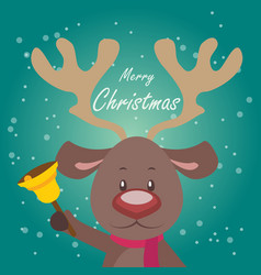 simple christmas greeting with a cute reindeer vector image