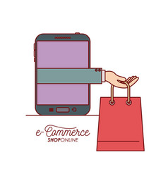 smartphone with hand holding a bag shopping e vector image