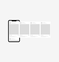 smartphone with interface carousel posts carousel vector image