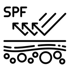 Spf protection icon outline style vector